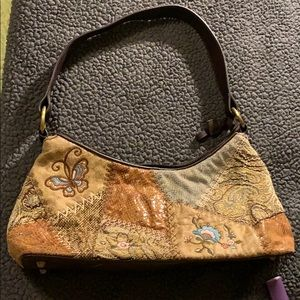 Bueno leather/suede/material patchwork purse